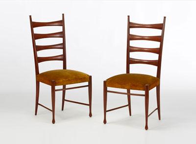 Buffa - Coppia di sedie in legno di citronnier